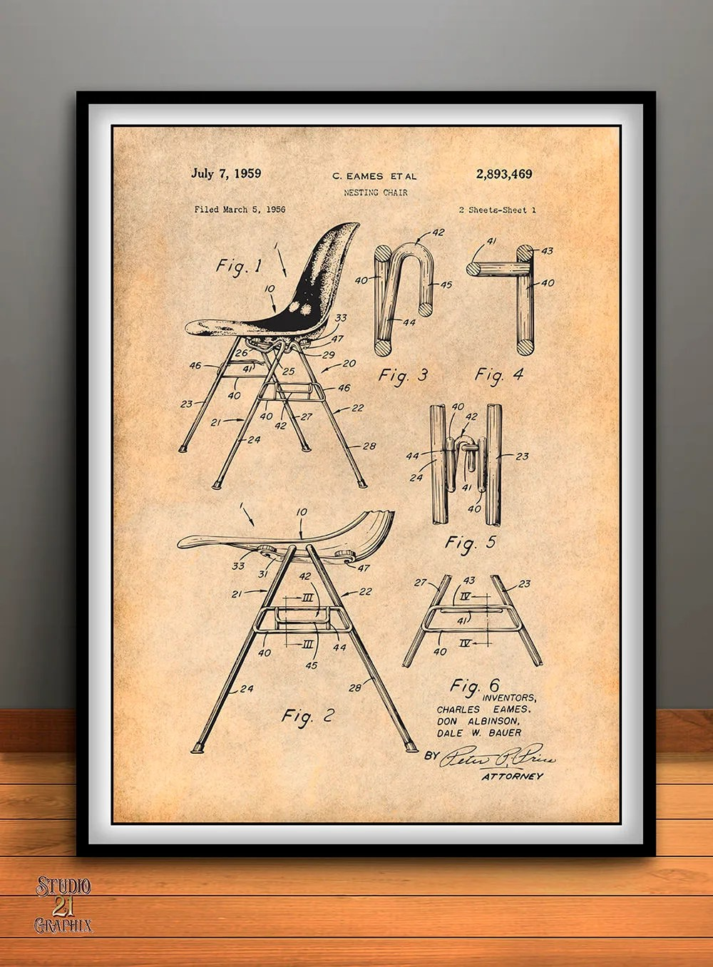 Eames Chair Patent 1956 Eames Stackable Nesting Chair Patent Print Furniture Construction Mid Century Furniture Charles Eames Eames Furniture Eames Decor
