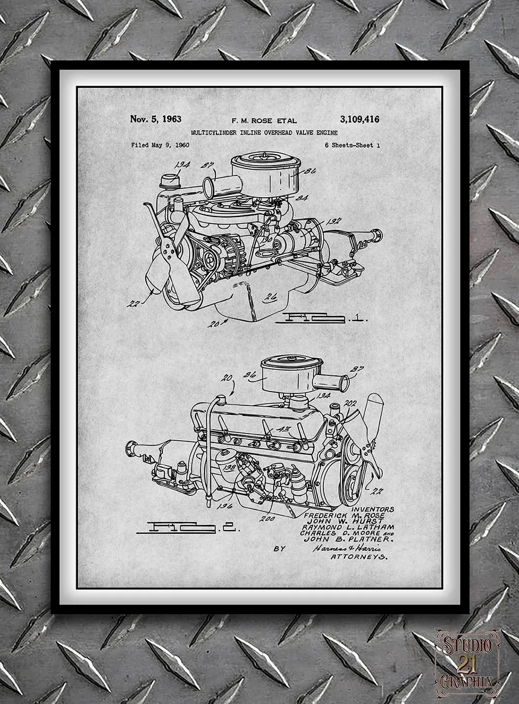 1960 Chrysler 220 Slant Six Engine Patent Print Truck Engine Etsy