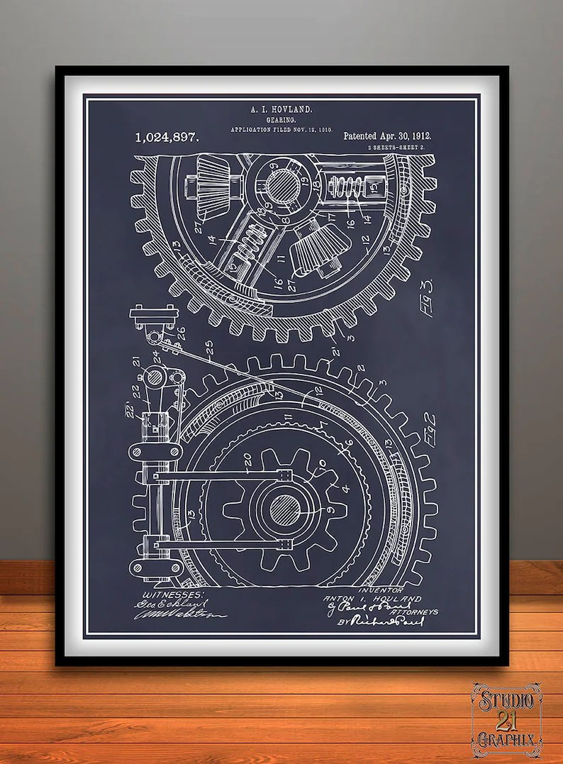 Garage Art Nz 1910 Gear Patent Print Industrial Decor Mechanic Gift Dad Gift Garage Decor Gears Wall Decor Gears Art Industrial Art Mechanical Art