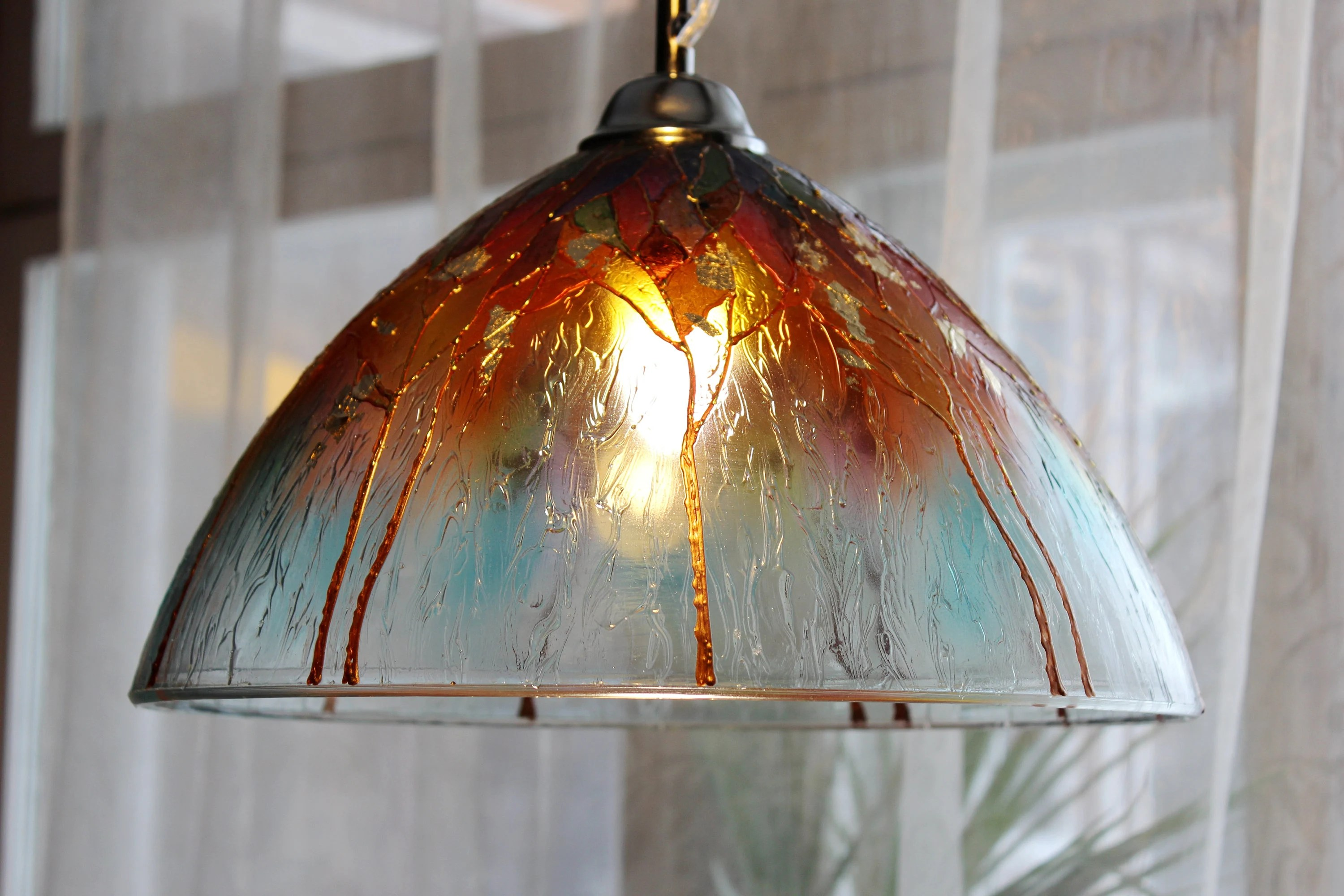 Glass Lamp Ceiling Kitchen Lighting Stained Glass Lamp Shade Glass Pendant Light Ceiling Light Hanging Lamp Dining Room Decor Glass Chandelier Ceiling Fixture