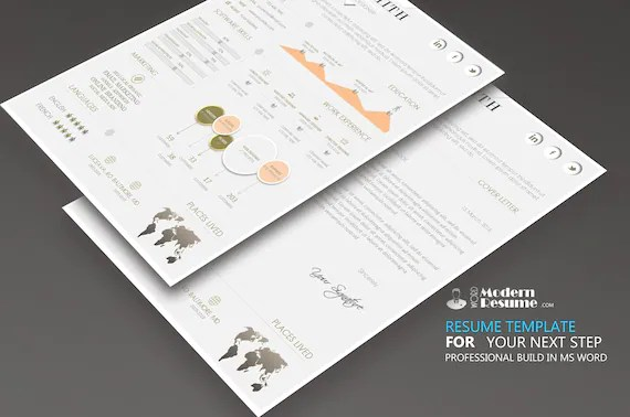 Flexible Resume Template One Page CV Template Cover Etsy