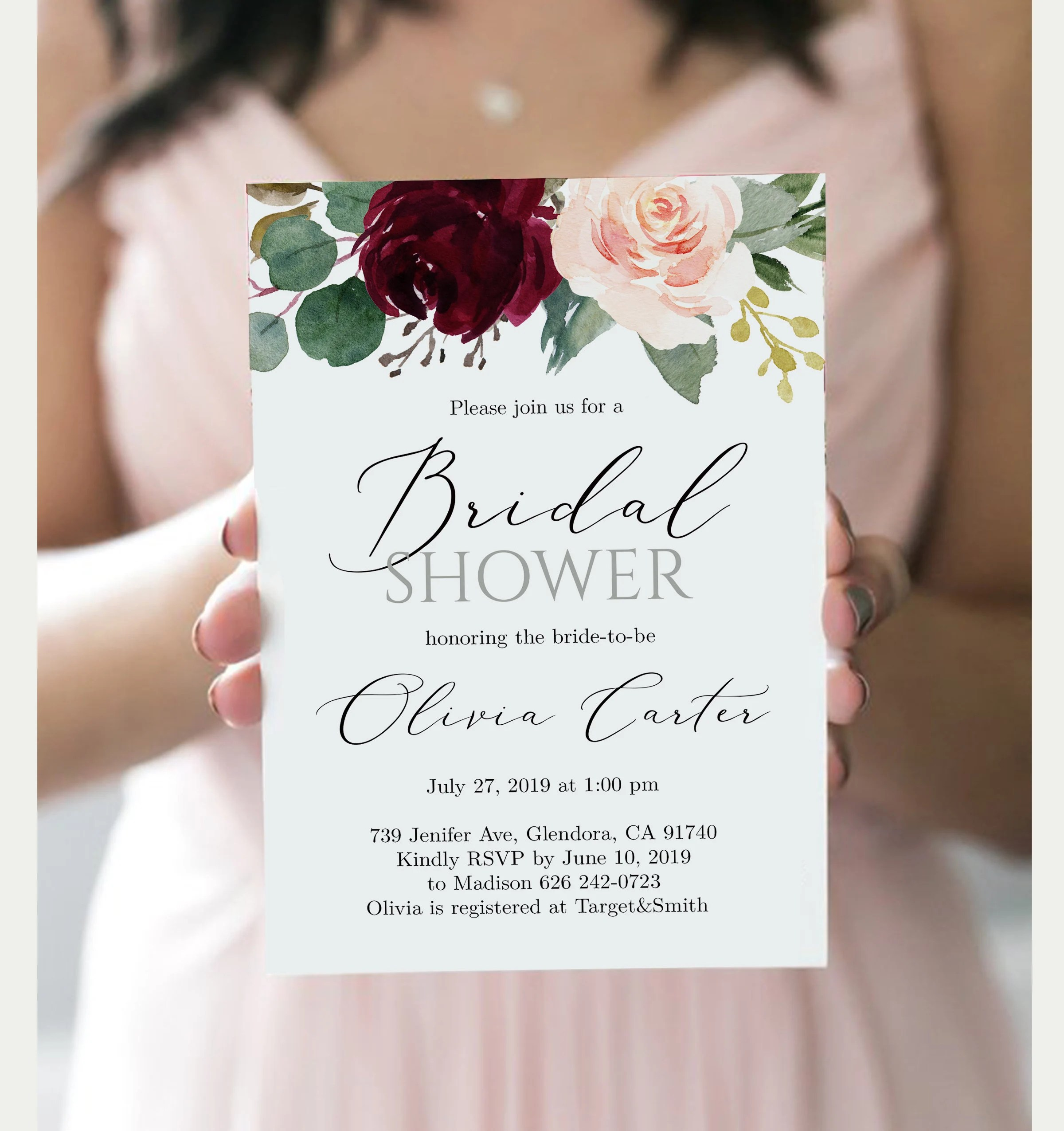 Printable Bridal Shower Invitation Template Bridal Shower Etsy