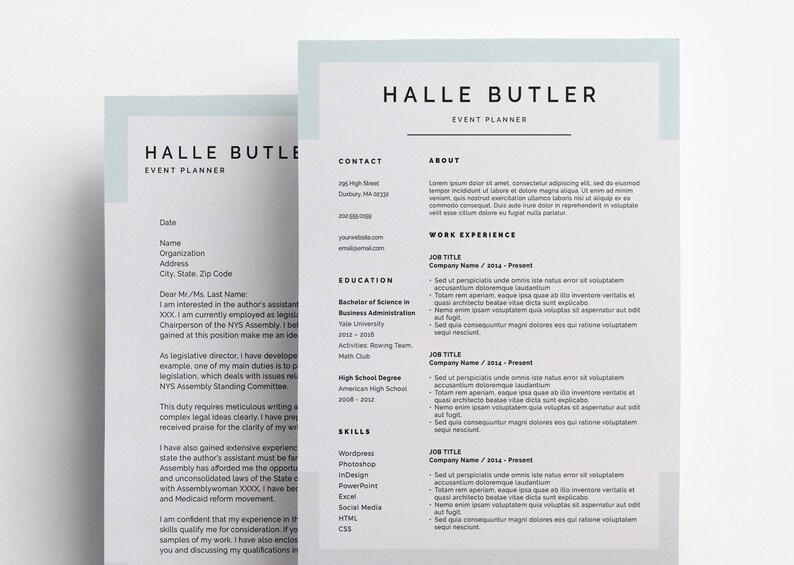 Resume Design for Microsoft Word and Photoshop Minimal Resume Etsy