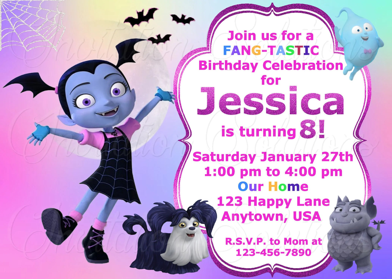 Vampirina Birthday Party Invitation/ Disney themed Vampirina Etsy