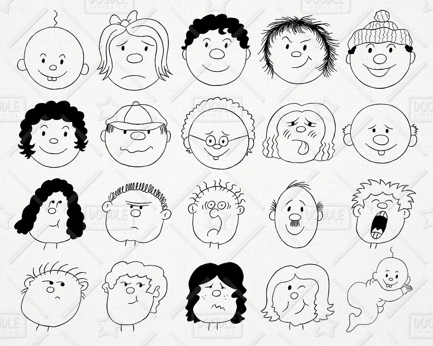 Doodle Cartoon Faces Clipart Vector Pack People Clipart Etsy