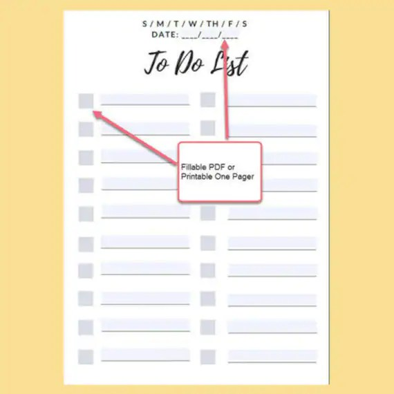 To Do Checklist List Daily To Do List Fillable Editable PDF Etsy