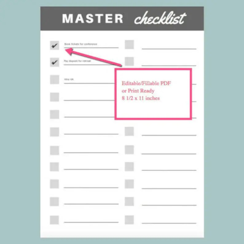 Master Checklist List To Do List Fillable Editable PDF Etsy
