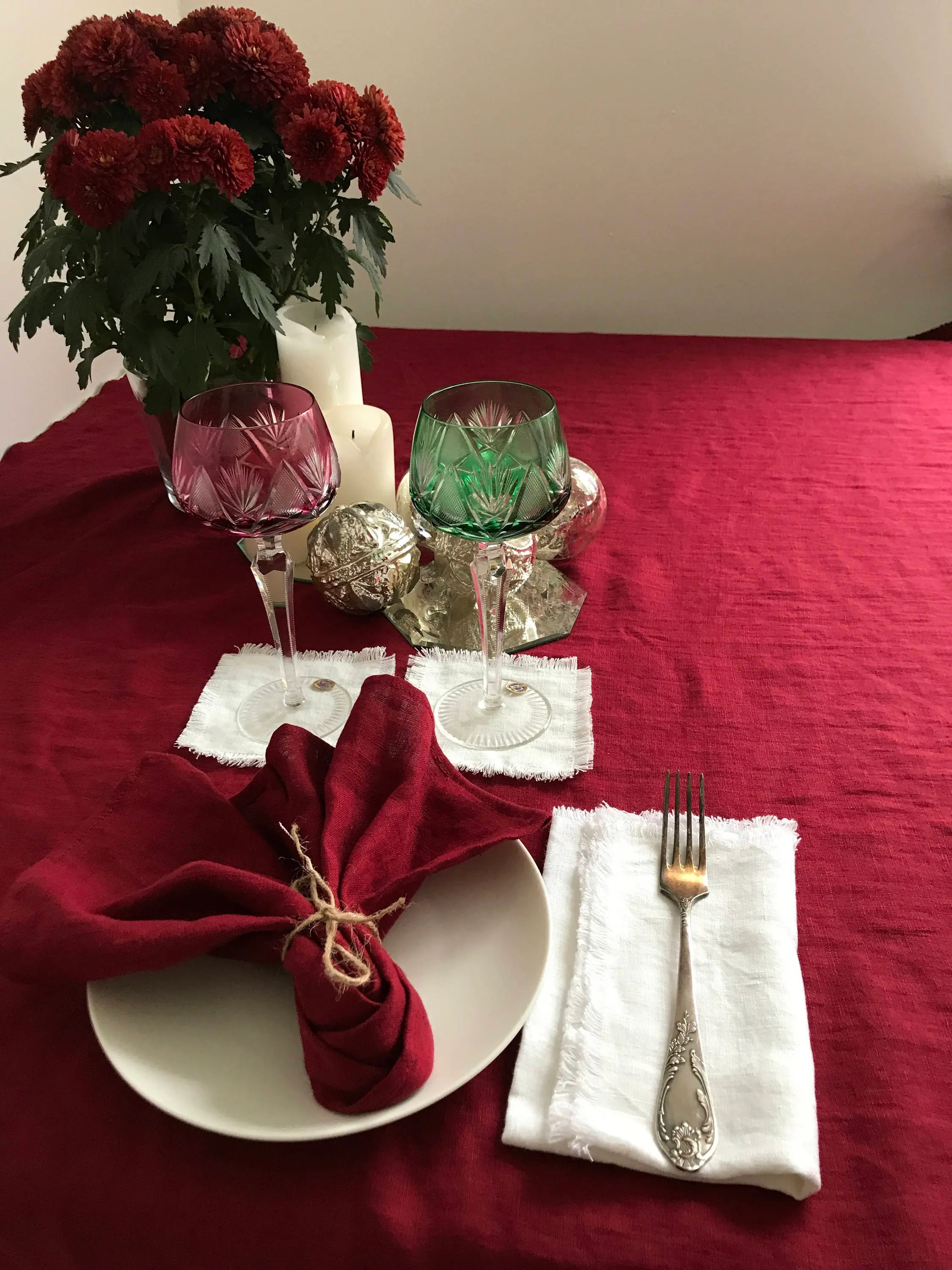 Christmas Tablecloths Australia Maroon Red Christmas Linen Table Cloth Christmas Tablecloth Rectangle Tablecloth Square Tablecloth Linen Custom Red Pure Linen Extra Large