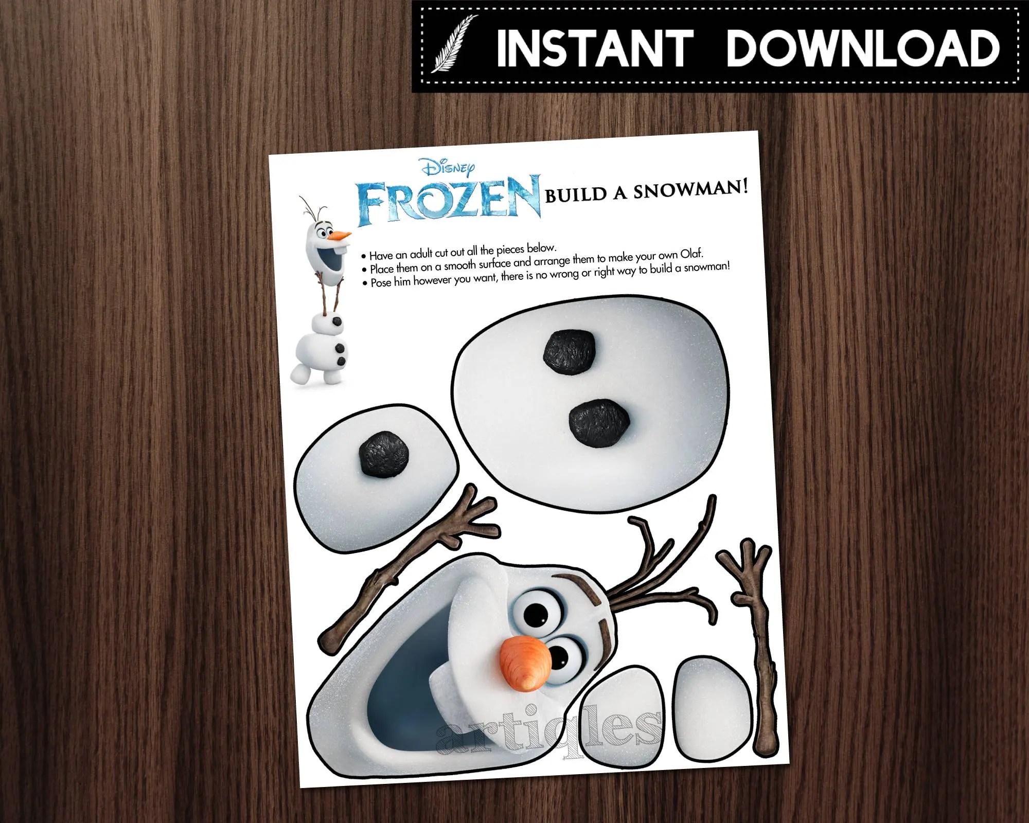 Instant Download Frozen Build A Snowman Olaf Assemble Etsy