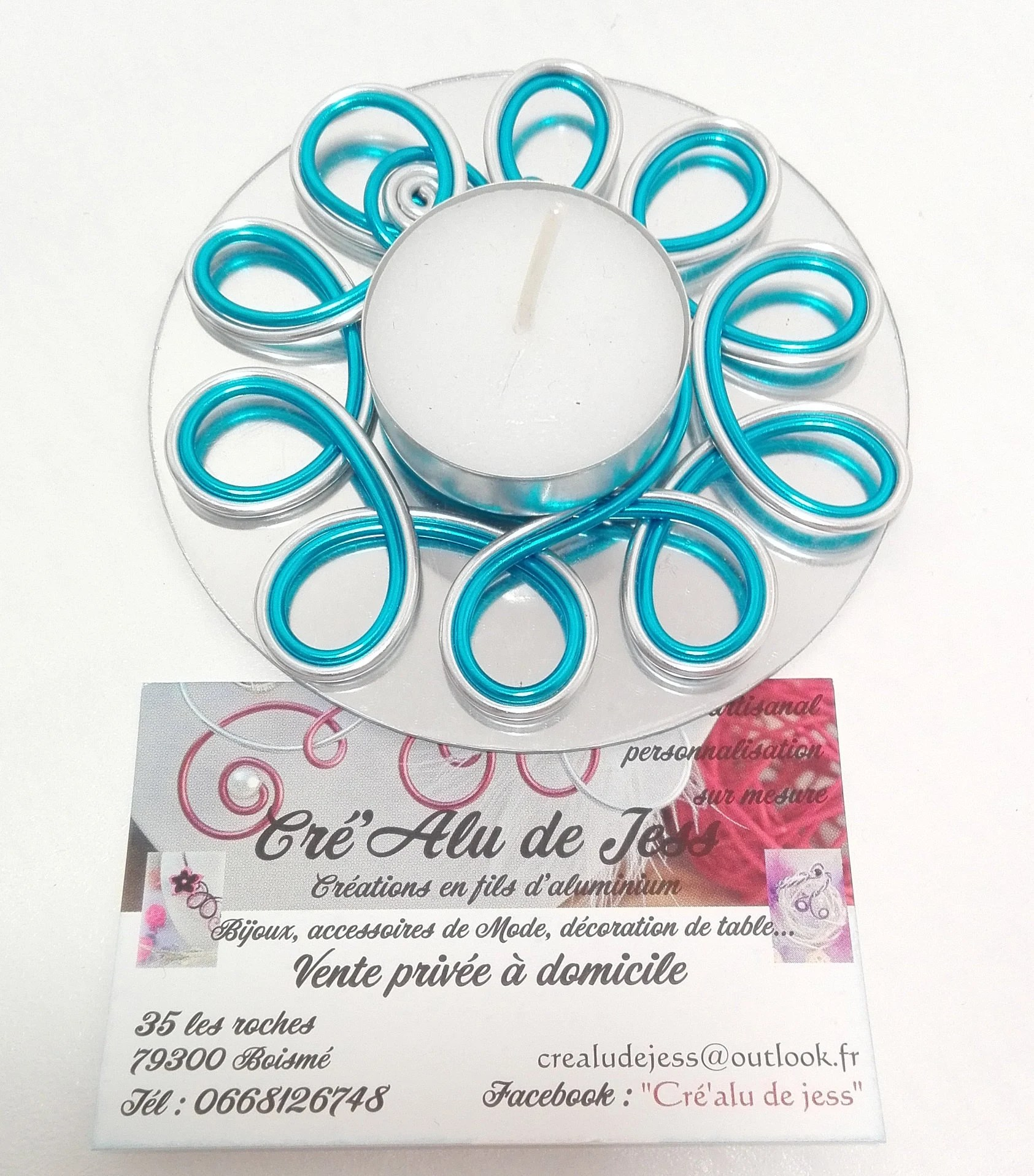 Décoration De Table Fil Aluminium Table Decoration Candle Holder Made Of Aluminum Wire Silver And Turquoise Blue