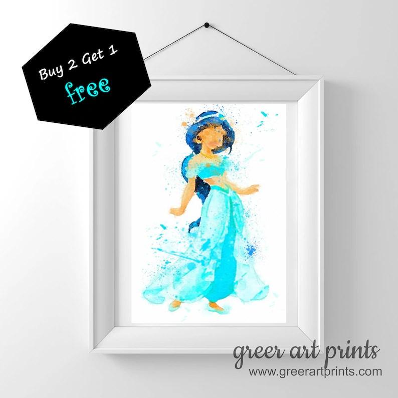 Princess Jasmine Aladdin Printable Disney Inspired Watercolor Etsy