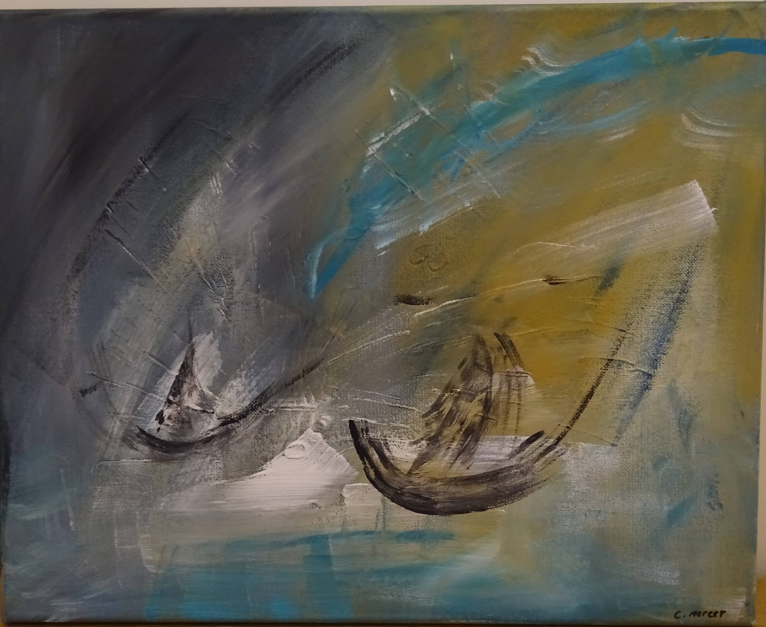 Contemporary Abstract Painting Contemporary Abstract Painting Boats Abstract Acrylic On Canvas Signed Abstract Painting