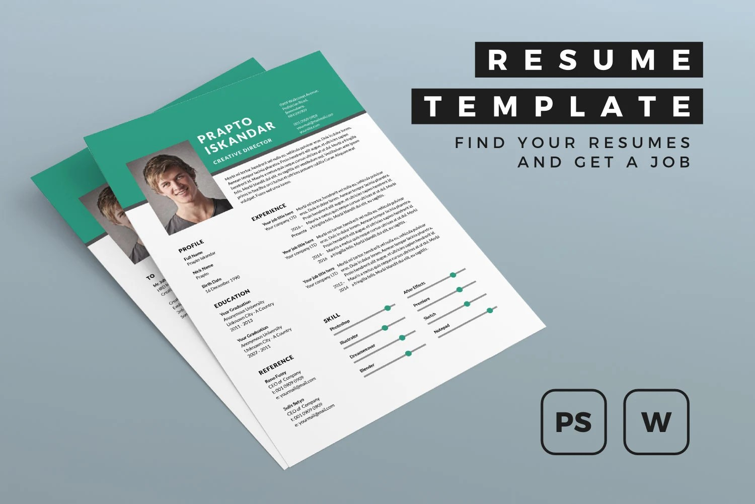 Resume Template MS Word PSD CV Template Simple Etsy