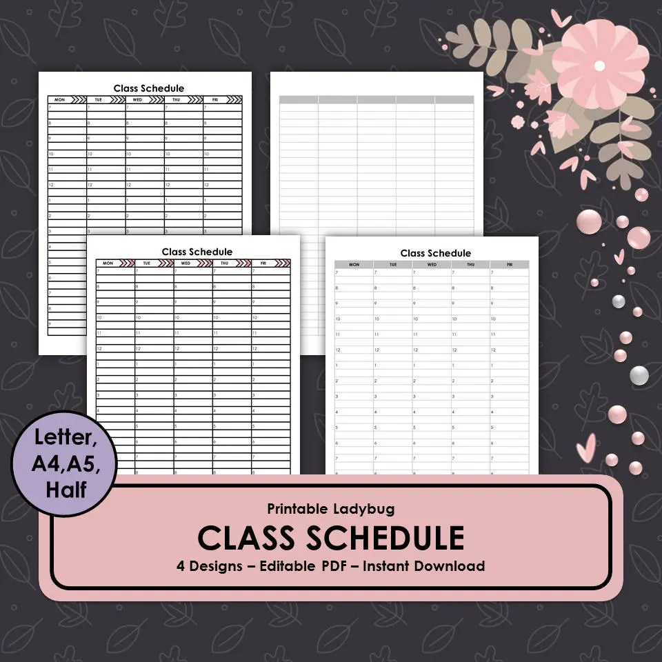 Class Schedule Student Schedule Classroom Template Etsy