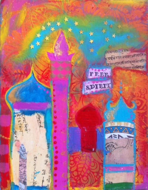 Bright Colours Painting Original Small Painting I M A Free Spirit Mixed Media Bohemian Islamic Arabesque Whimsical Happy Colourful Uplifting Bright Colours Stars