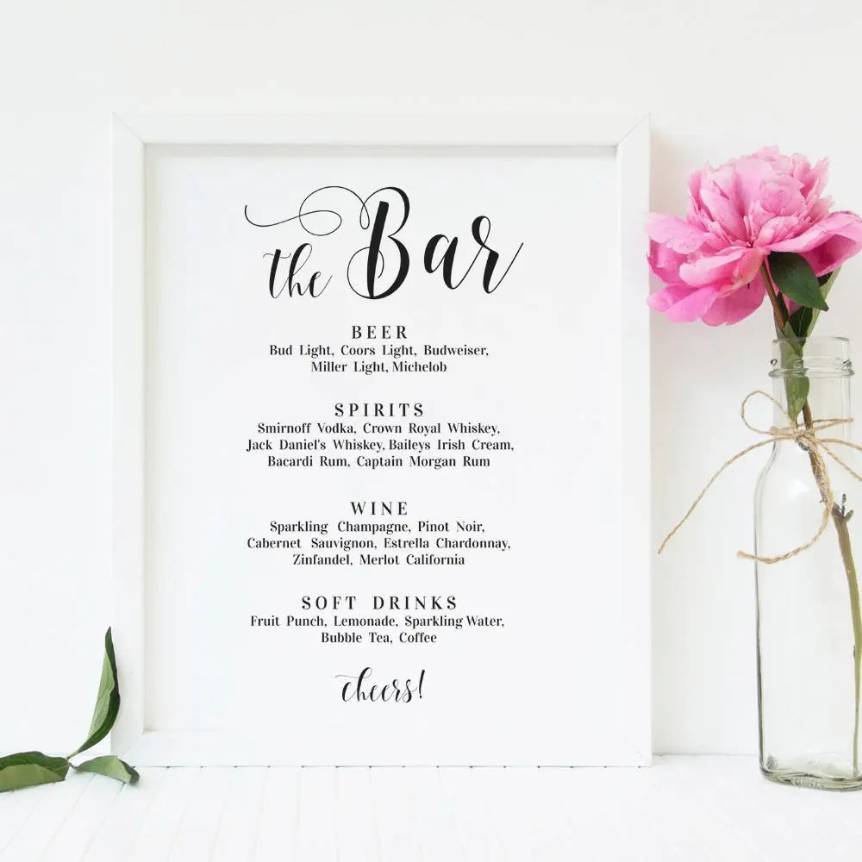 Wedding bar menu template Bar menu sign Wedding drinks menu Etsy