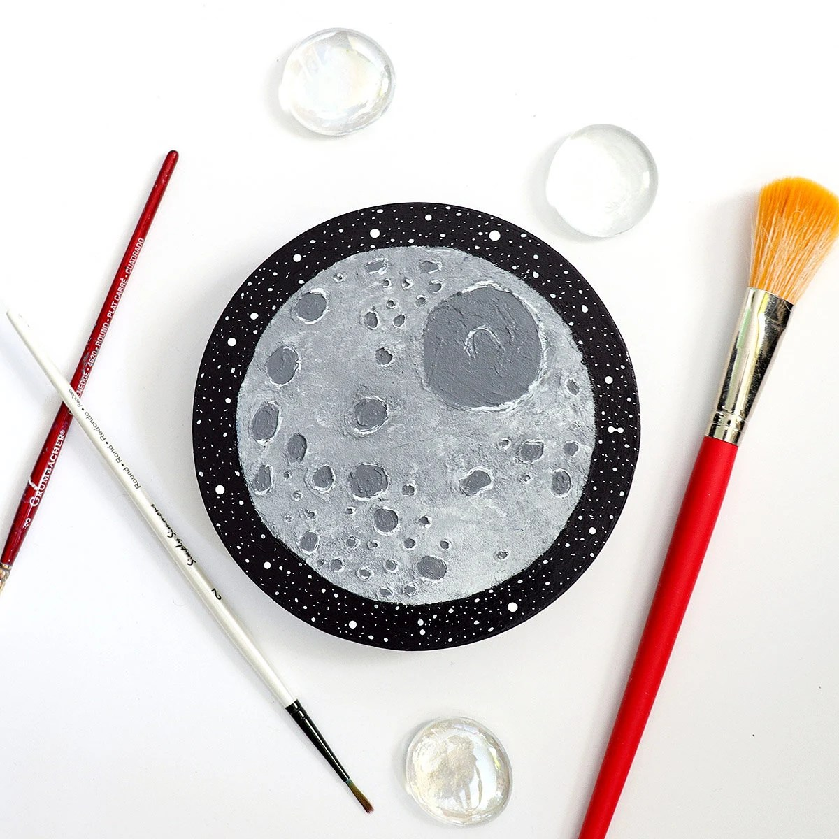 Mimas Moon Fun Facts Hand Painted Original Moon Mimas Acrylic Painting On Wood Space Art