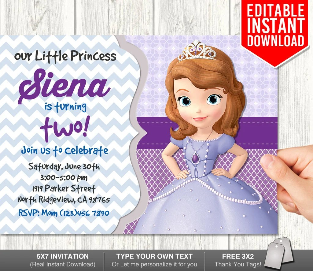 Sofia the First Invitation Instant Download Sofia First Etsy