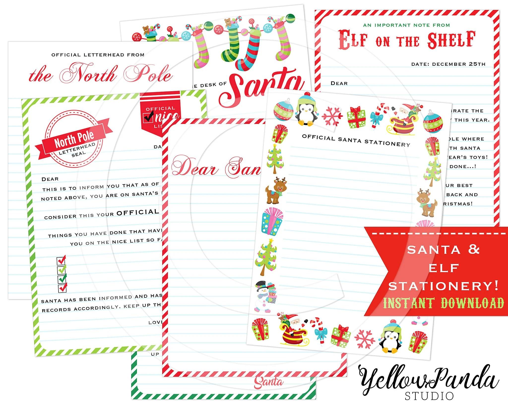 Santa Stationery Santa Notes Elf on the Shelf Elf Etsy
