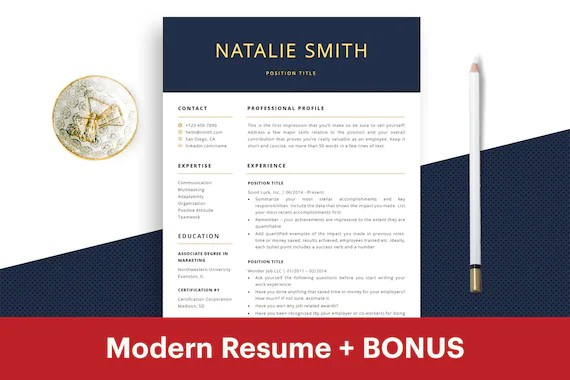 Professional Resume Template Instant Download CV Template Free Etsy