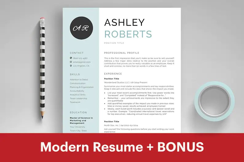 Resume Template Microsoft Word CV Template Professional Etsy