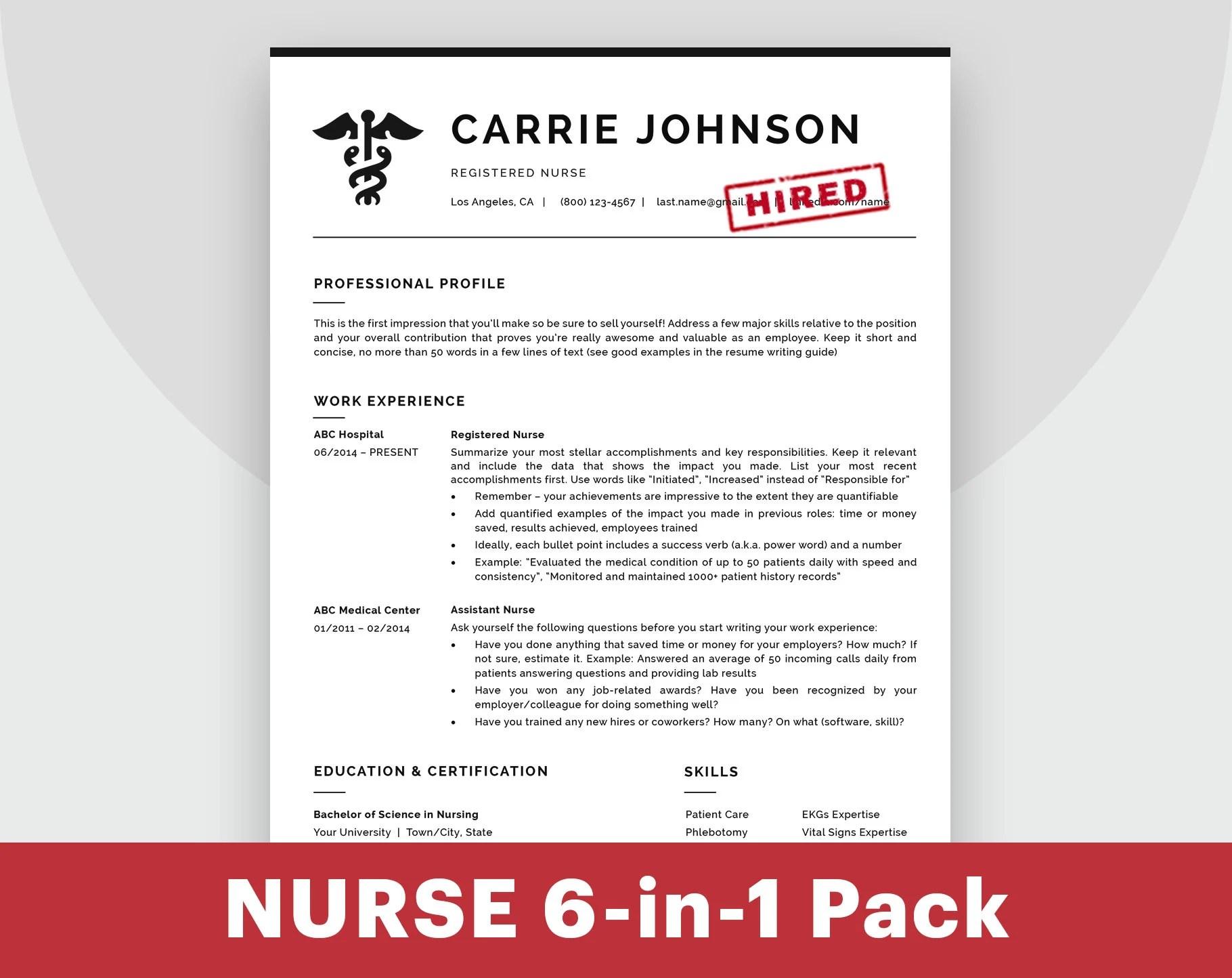 Nursing Resume Template Nurse Resume Template RN Resume Nurse Etsy