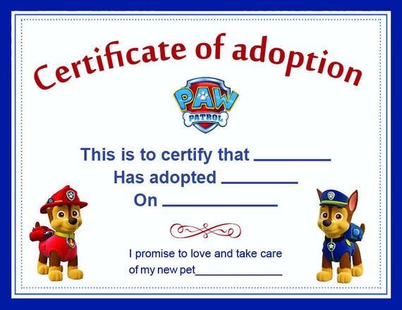 Paw Patrol Adoption Certificate printable Digital - blank adoption certificate template