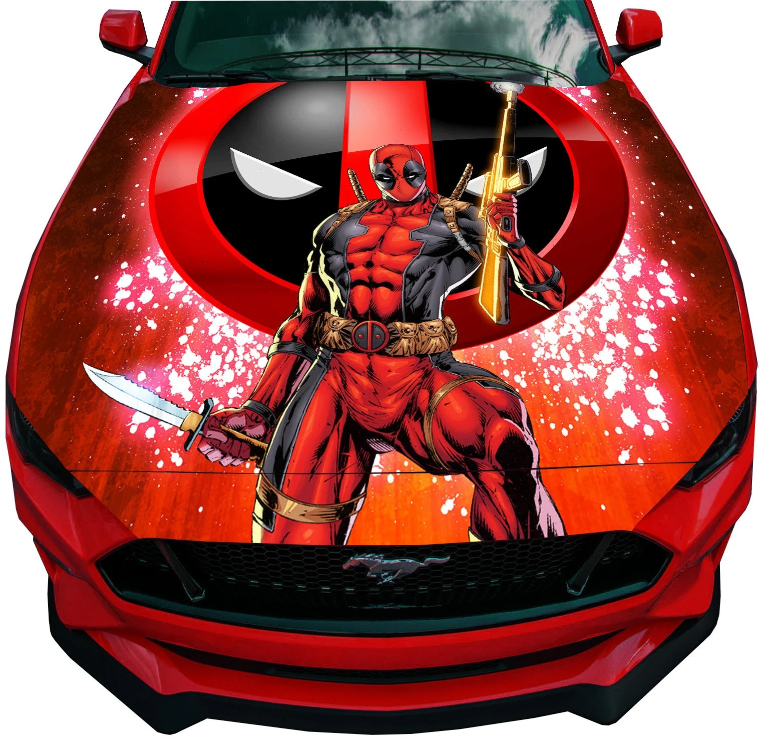 Deadpool Bettwäsche Vinyl Car Hood Bonnet Deadpool With Logo Decal Sticker Fit Any Auto