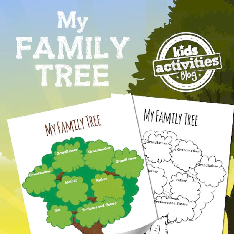 Family Tree Printable Worksheet Activity for Kids Etsy