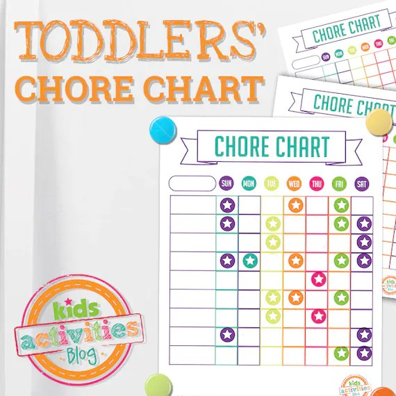 Chore Chart for Toddlers with Printable Sticker Template Etsy