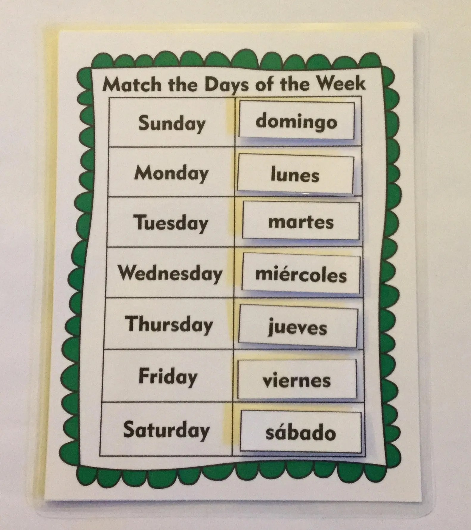 Esl Games Days Of The Week Game Spanish And English Esl Language Game Educational Game Learning Game Kids Game Children S Game