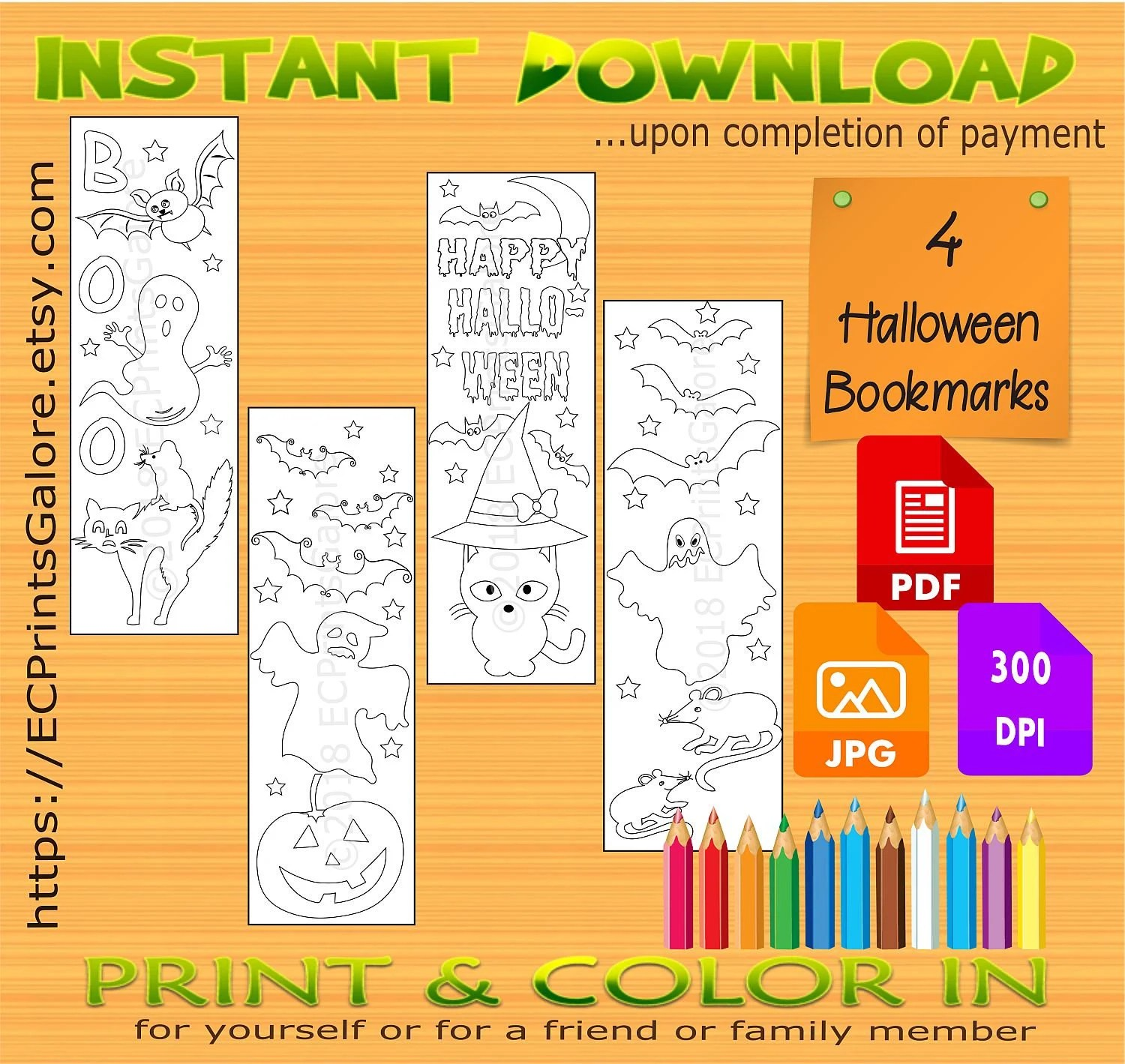 Halloween Coloring Bookmarks Printable Halloween Bookmarks PDF Etsy