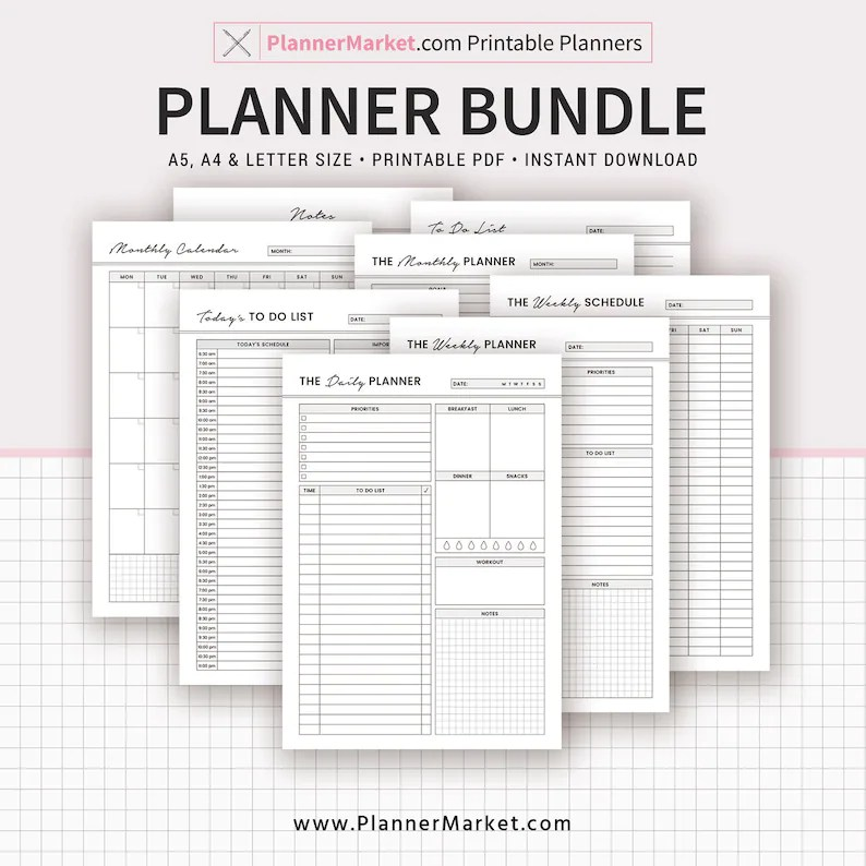 2019 PLANNER BUNDLE Daily Weekly Monthly Planner Notes Etsy