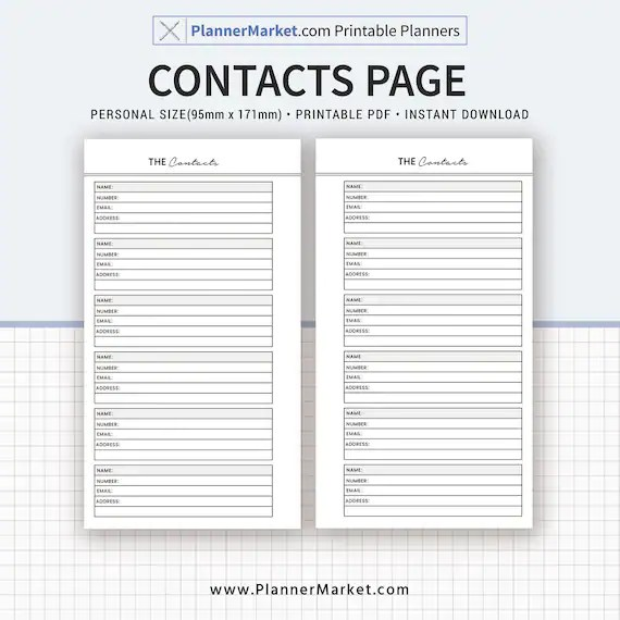 Printable Contact Page Contact List Personal Size Planner Etsy