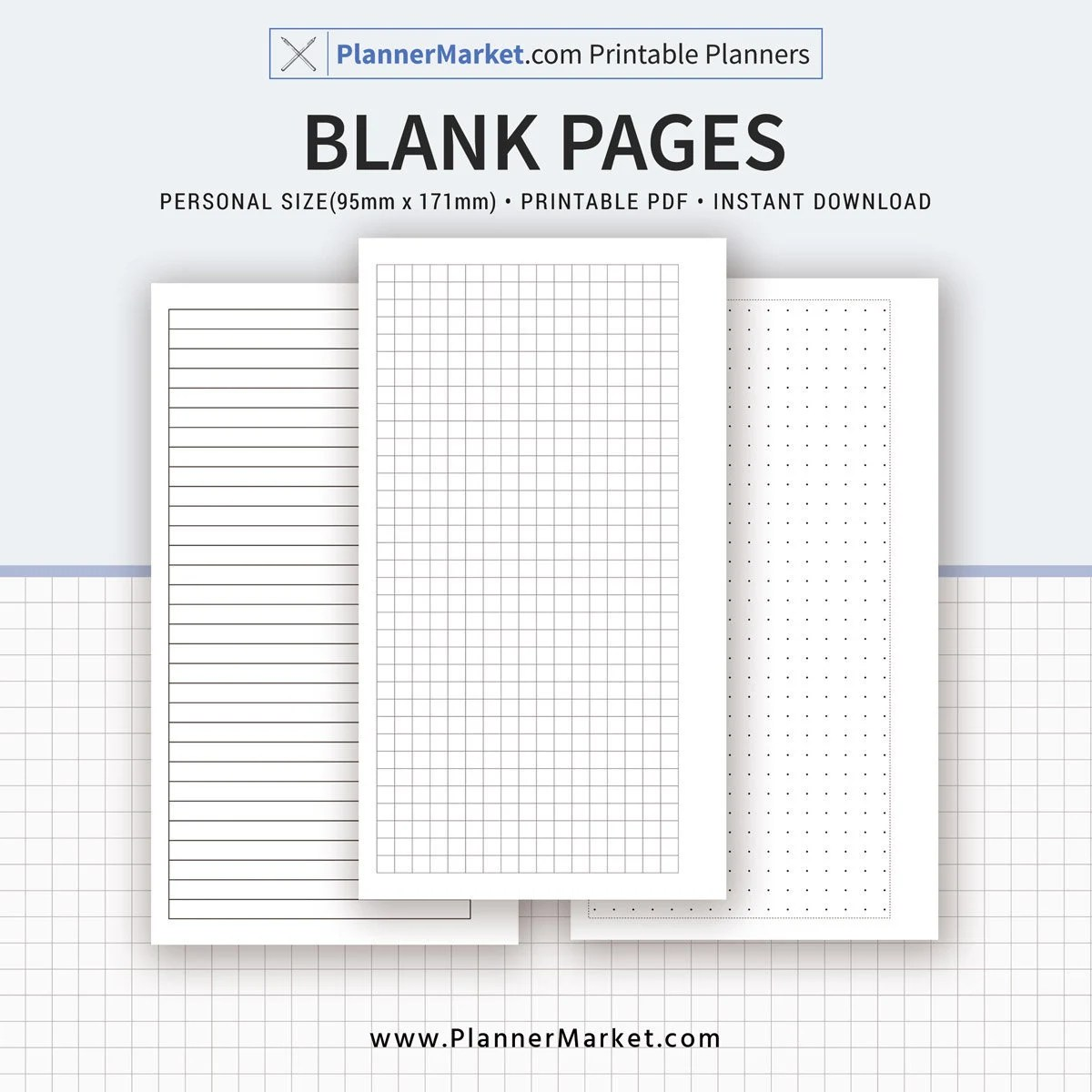 Blank Pages Planner Pages Printable Personal Size Inserts Etsy