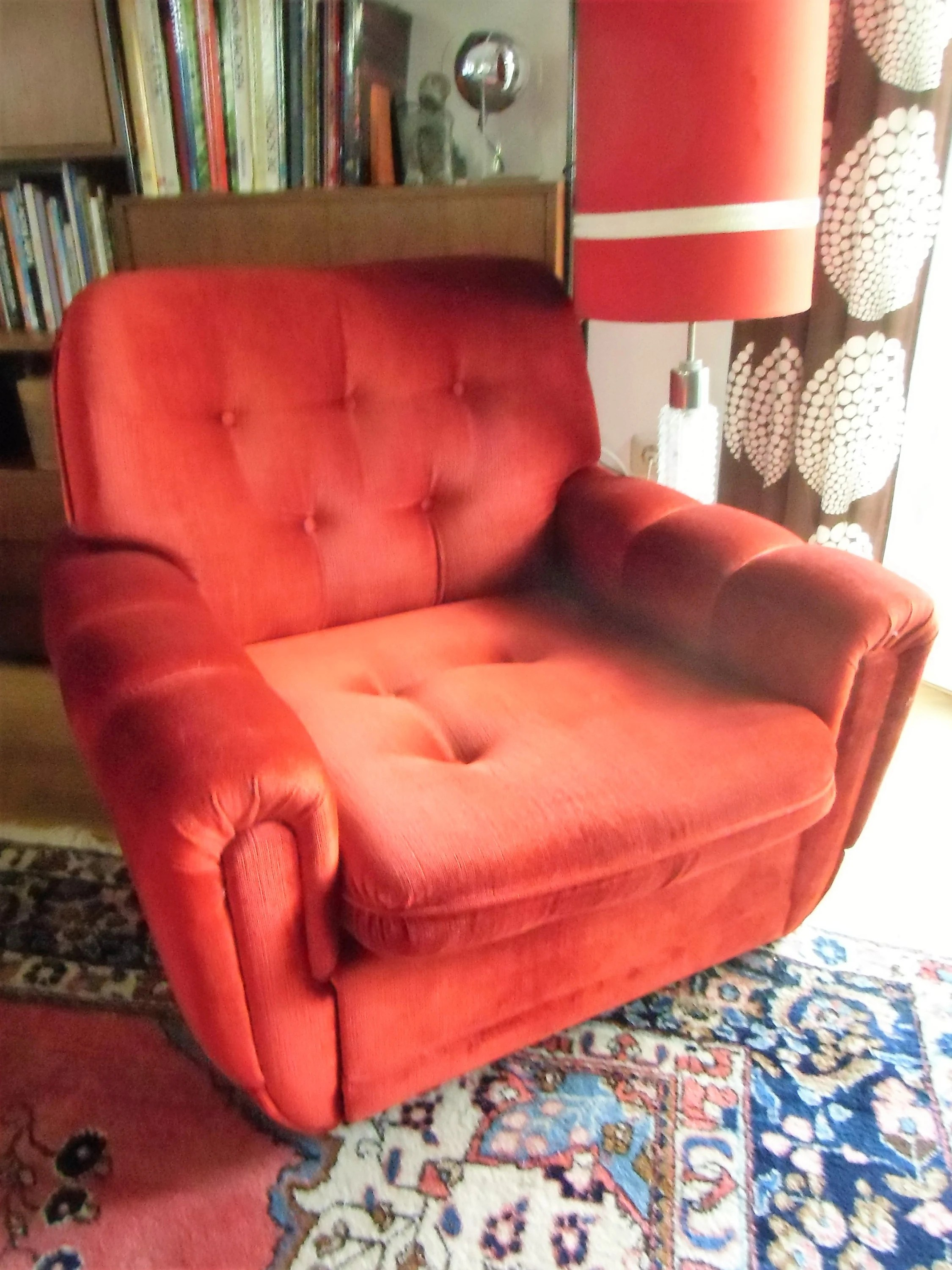 Cocktailsessel Orange 70er Clubsessel Armchair Age Samt In Rot Lounge Design