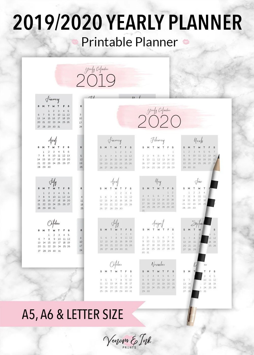 Yearly Calendar Printable Calendar 2019 Yearly Calendar Etsy10