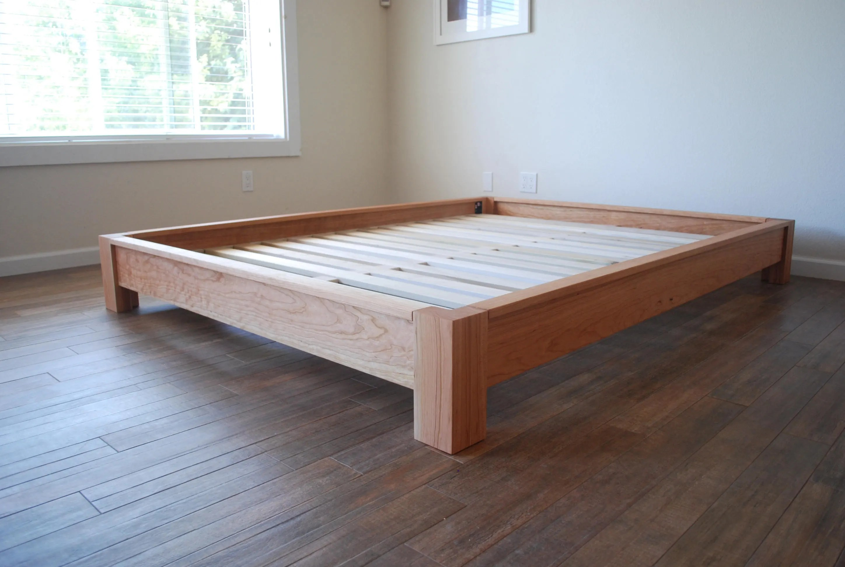 Twin Bed Frame Low Profile Low Profile Platform Bed In Cherry Simple Bed Frame Solid