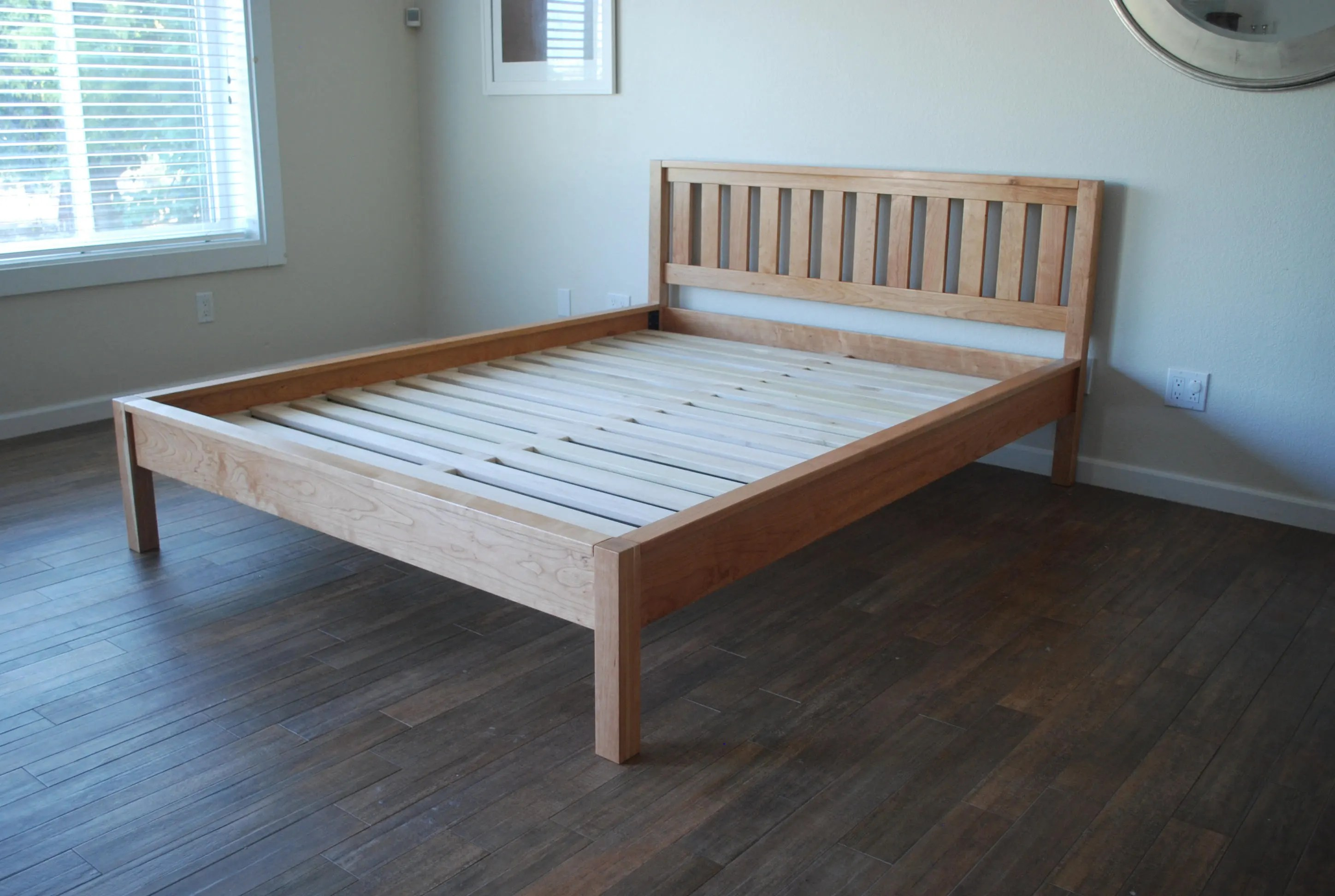 Simple Bed Simple Bed Frame With Slatted Headboard Platform Bed With Headboard Solid Wood Bed Twin Full Queen King California King Cherry Wood