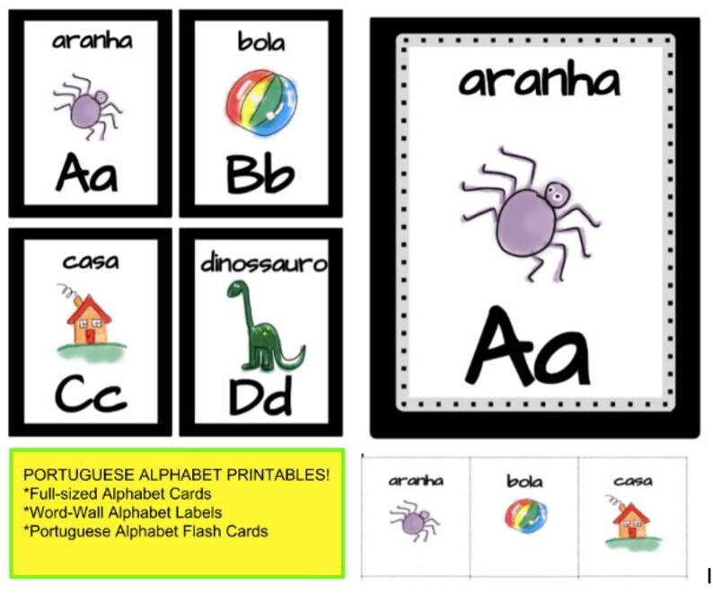 Portuguese Alphabet Classroom Set Printables Etsy