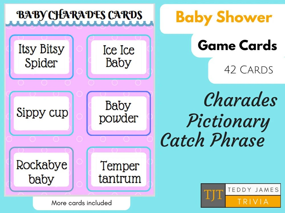 Baby Shower Charades Game Cards Printable Etsy