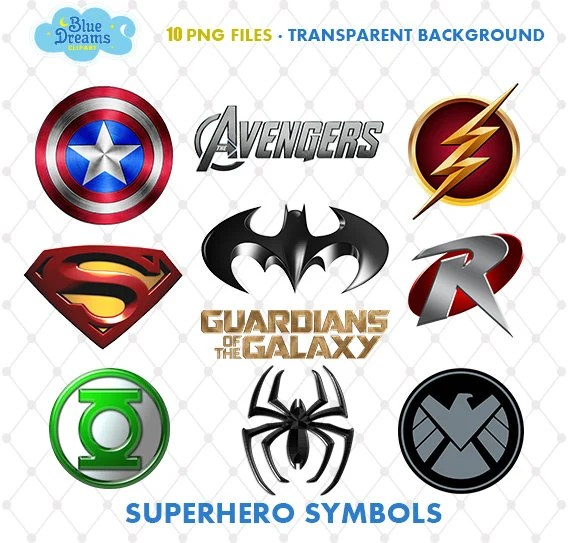 Superhero Symbols Clipart PNG Clip Art Files Superhero Logo Etsy