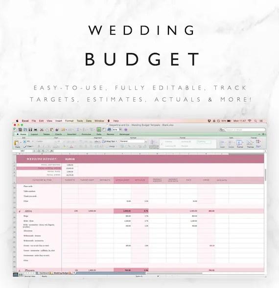 Wedding Budget Tracker Template Excel Spreadsheet PLUS Etsy - wedding budget estimates