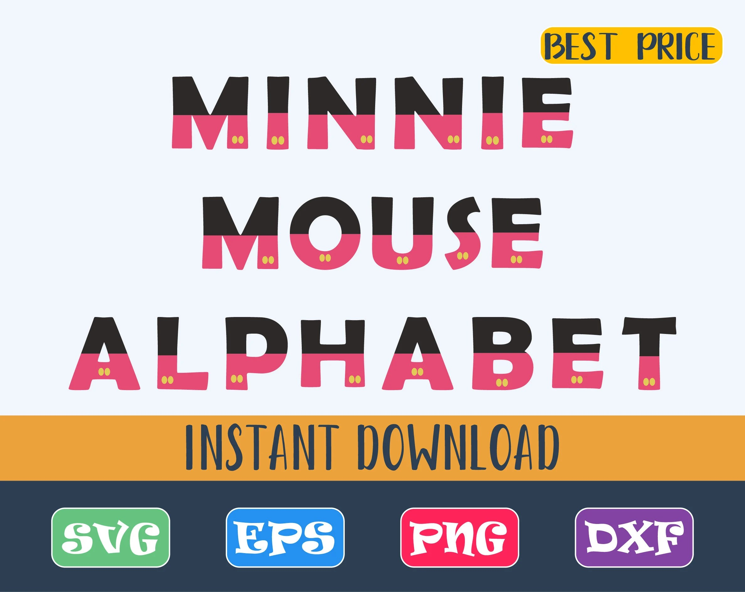 Minnie Mouse Alphabet Font SVG Mickey Mouse Letters SVG Etsy