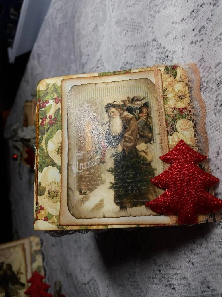 Mini Tannenbaum Teeny Tiny X Mas Junk Journal Handmade Tannenbaum