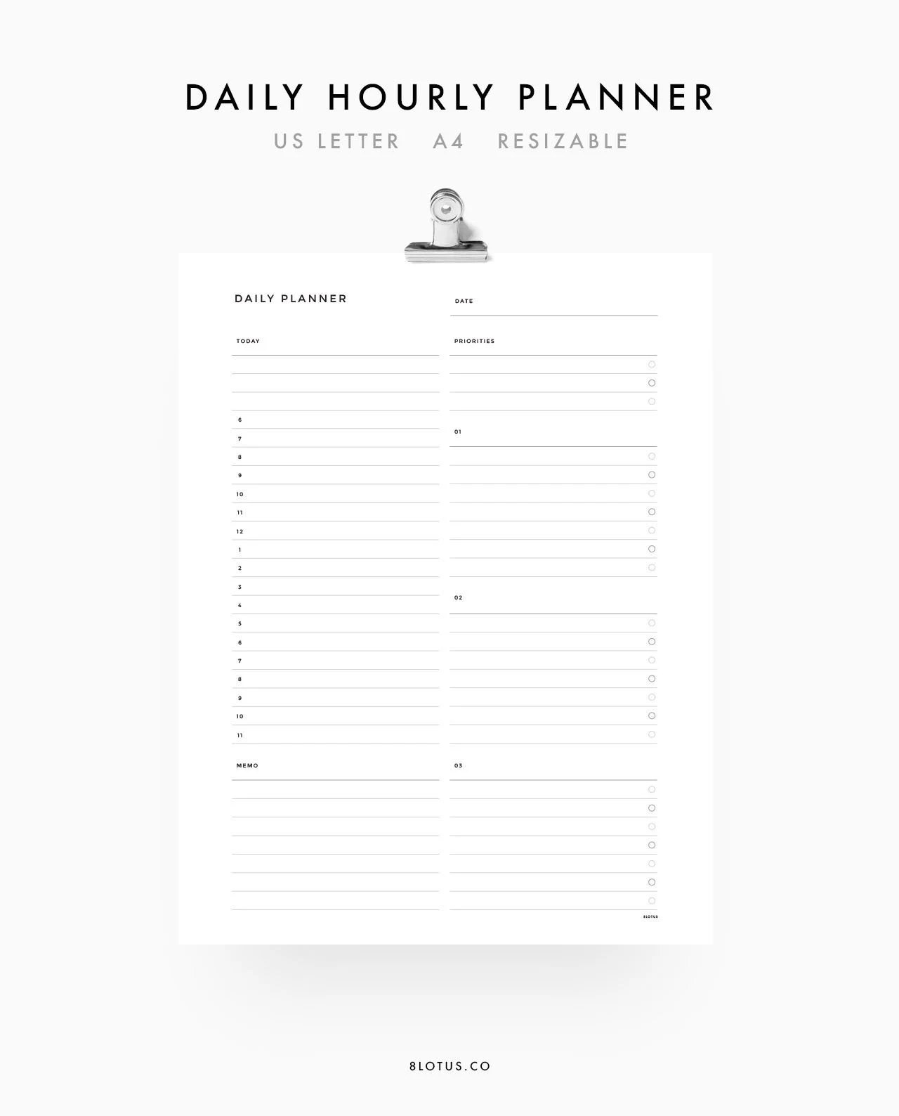 Daily Schedule Planner A4 US Letter Daily Planner Etsy