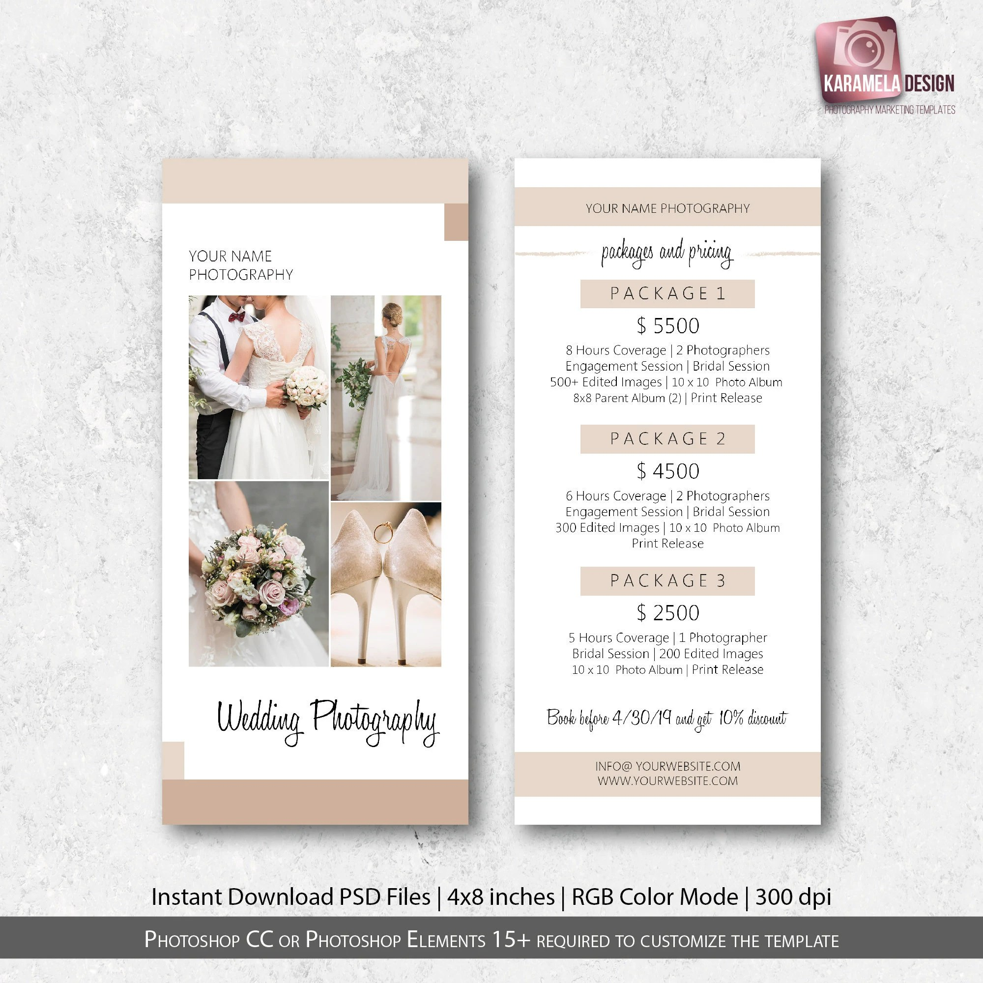Wedding Photography Rack Card Template Photography Marketing Etsy