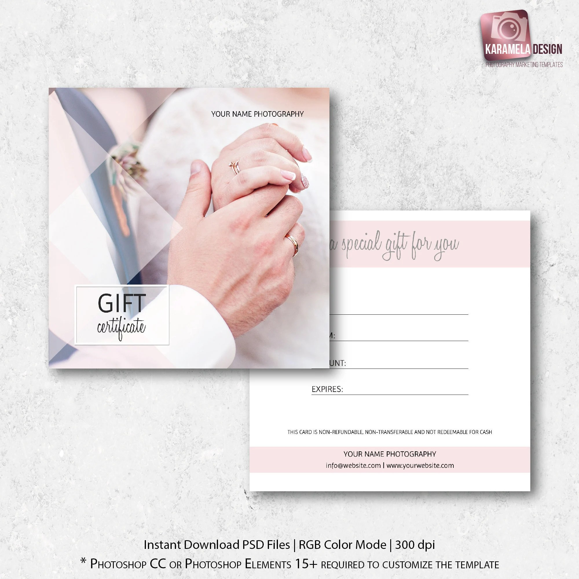 Photography Gift Certificate Template Photo Gift Card Wedding Etsy