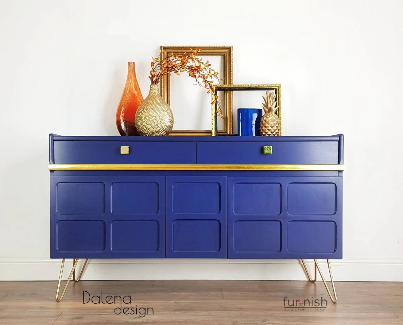 Vintage Nathan Sideboard Vintage Retro 1970 S Nathan Teak Sideboard Media Unit Painted Sideboard On Hairpin Legs Blue And Gold Nathan Sideboard