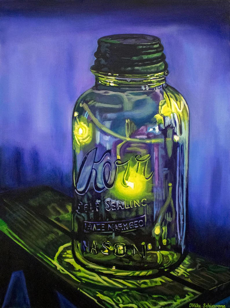 Firefly Jar Art Fireflies Mason Jar Lightning Bug Mason Jar Print Fine Art Print Glass Painting Industrial Country Rustic 11x14